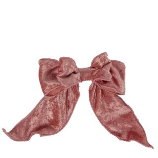 Velvet Bow With Clip Pink