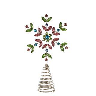 Multi Coloured Jewelled Snowflake Tree Topper