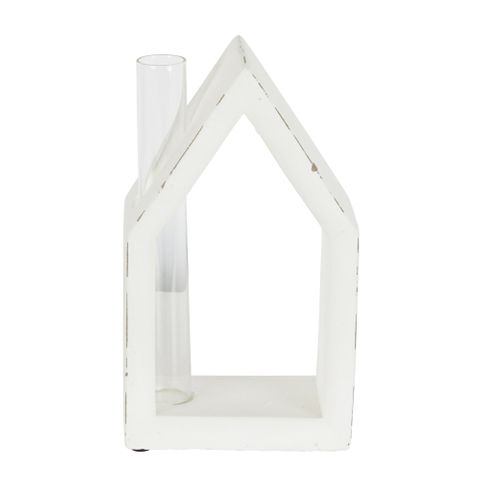 White Cement House With Glass Chimney Vase Large