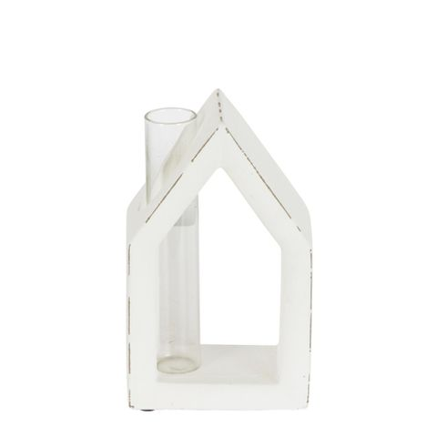 White Cement House With Glass Chimney Vase Small