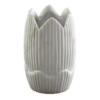 Mahina Marble Vase Large White