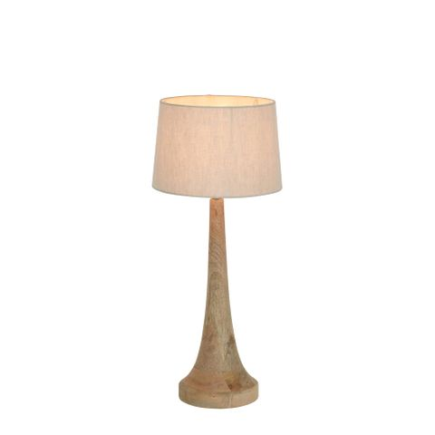 Lancia Small Base Only - Light Natural - Turned Wood Slender Table Lamp Base Only