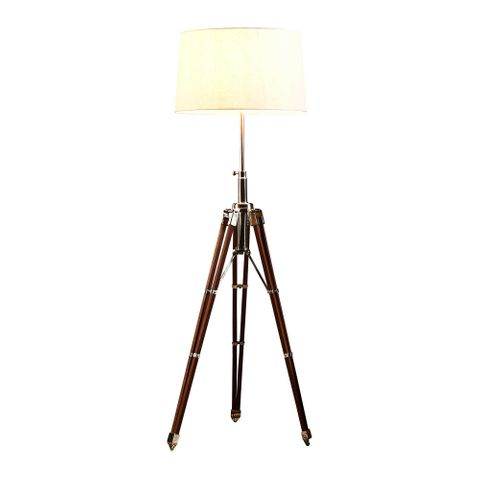 Wright Base Only - Nickel and Natural - Wood and Nickel Tripod Base Only