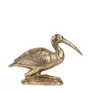 Kneeling Crane Sculpture Gold