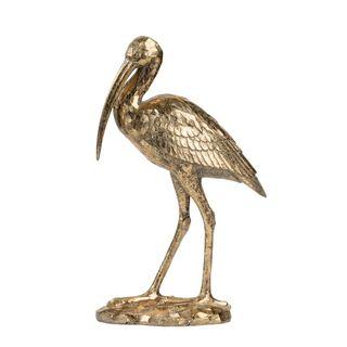 Standing Crane Sculpture Gold