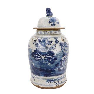 Lotus Porcelain Lidded Ginger Jar Large
