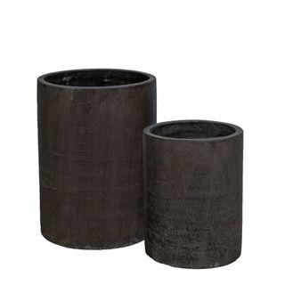 Venda Tall Cylinder Pot Set of 2 Grey