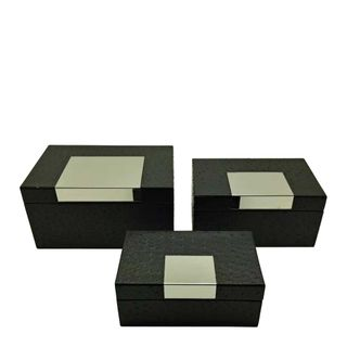 Florence Rectangle Box Set of 3 Black
