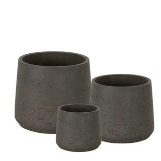 Chi Planter Set of 3 Charcoal Grey