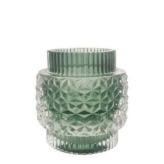 Crease Glass Tealight Holder Large Green