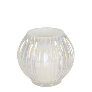 Pearl Ribbed Glass Tealight Holder Small
