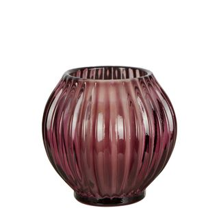Round Ribbed Glass Tealight Holder Small Purple