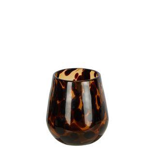 Tortoise Shell Glass Tealight Holder
