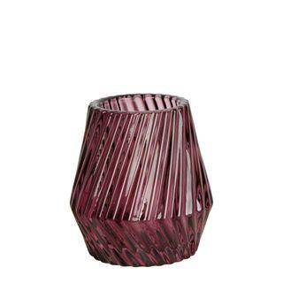Twist Glass Tealight Holder Small Purple
