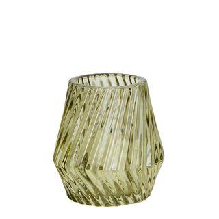 Twist Glass Tealight Holder Small Light Green