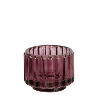 Pillar Ribbed Glass Tealight Holder Purple