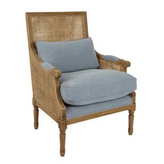 Hicks Caned Armchair Blue