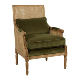 Hicks Caned Armchair Olive Green