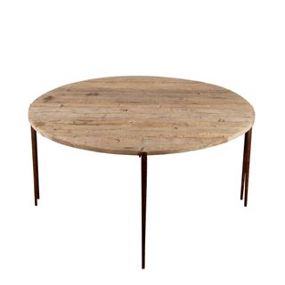 Sianna Wooden Metal Two Half Moon Round Dining Table