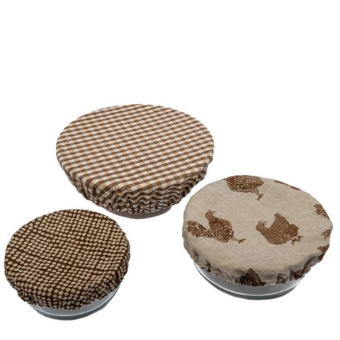 Speckled Gingham Assorted Food Cover Set 3 Earth