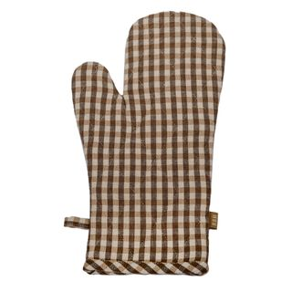 Gingham Oven Glove Earth Brown