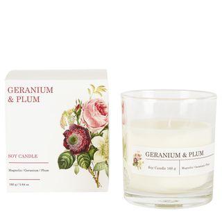 Geranium & Plum Soy Candle 160g