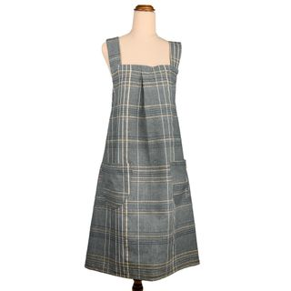 Textured Check Pinafore Apron Blueberry