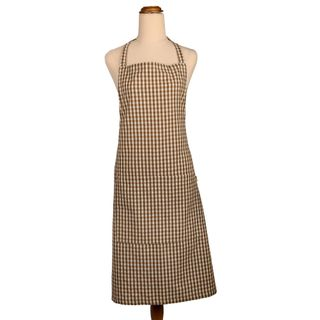 Gingham Apron Earth Brown