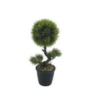 Bonzai Pine Topiary Bush In Black Pot