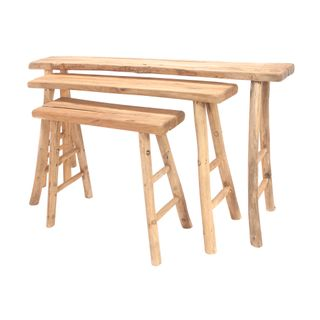 Yasen Wooden Table Set of 3 Natural