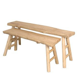 Ornella Wooden Table Bench Set of 2 Natural
