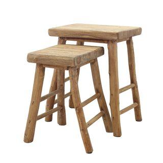 Soma Wooden Stool Set of 2 Natural