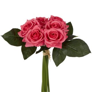 Romance Real Touch Rose Bouquet Dark Pink