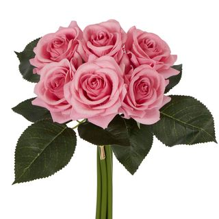 Romance Real Touch Rose Bouquet Mid Pink