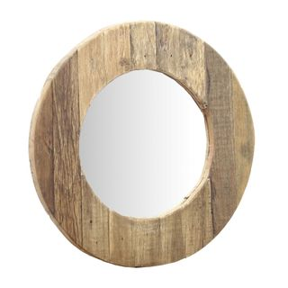 Oihana Round Wooden Mirror 60x60cm Natural