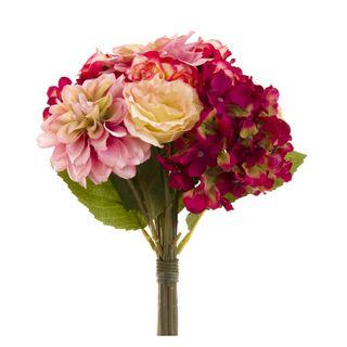 Dahlia Lisianth & Hydrangea Bouquet 28cm Fuchsia