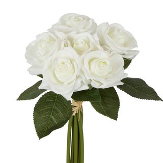 Romance Real Touch Rose Bouquet White