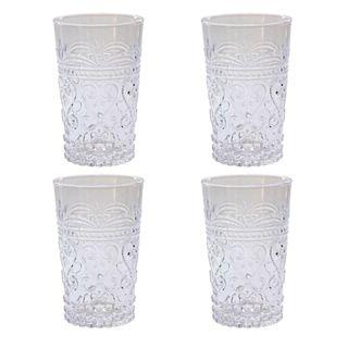 Glass Tumbler Set of 4 Clear 12oz