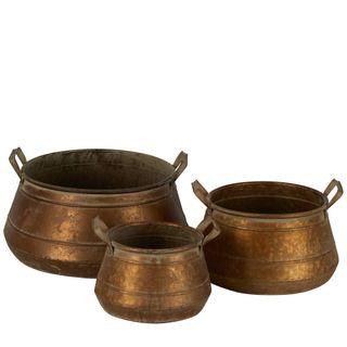 Rustic Metal Pots With Handles Set of 3