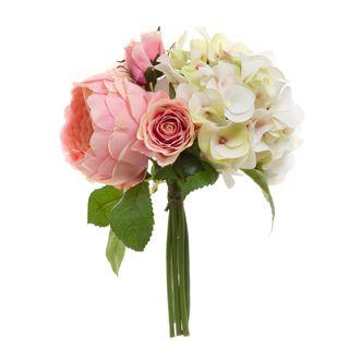 Rose Hydrangea Bouquet 30cm Pink & Green