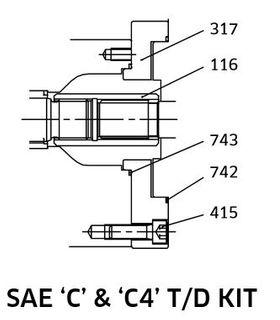 K3VL112/140 - SAE C Through Drive Kit
