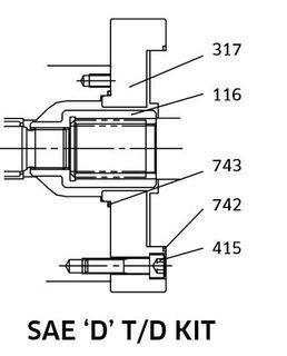 K3VL112/140 - SAE D Through Drive Kit