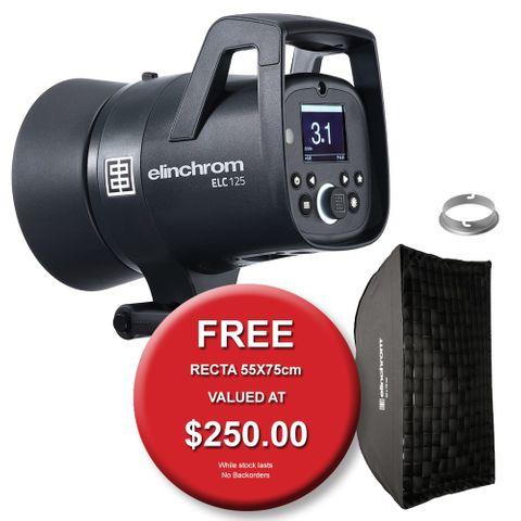 Elinchrom ELC 125WS Flash + 16cm Reflector & FREE 55x75cm Softbox