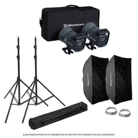 Elinchrom ELC 125/125 Softbox To Go Kit + Stands