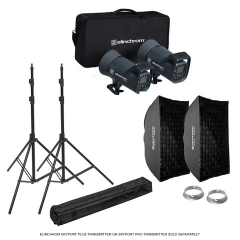 Elinchrom ELC 500/500 Softbox To Go Kit + Stands