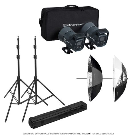 Elinchrom ELC 125/125 Umbrella To Go Kit + Stands