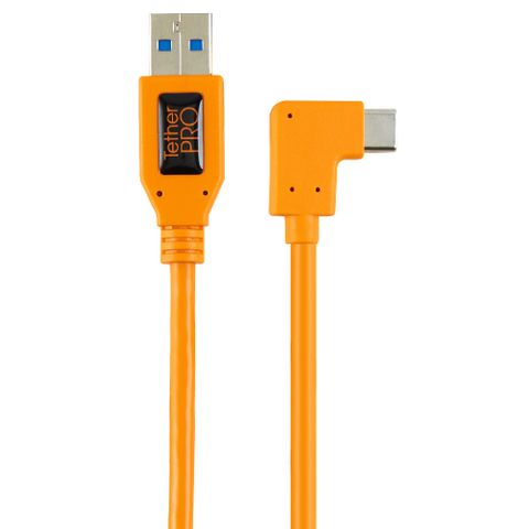Tether Tools Tetherpro USB 3 to USB-C Right Angle Pigtail 50cm Hi-Vis Orange