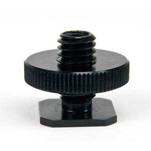 Rock Solid HotShoe Adapter with Dual 1/4-20 Female + 3/8 Male