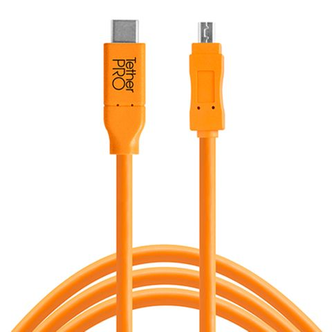 Tether Tools TetherPro USB-C to USB 2.0 Mini-B 8-Pin 4.6m Hi-Vis Orange