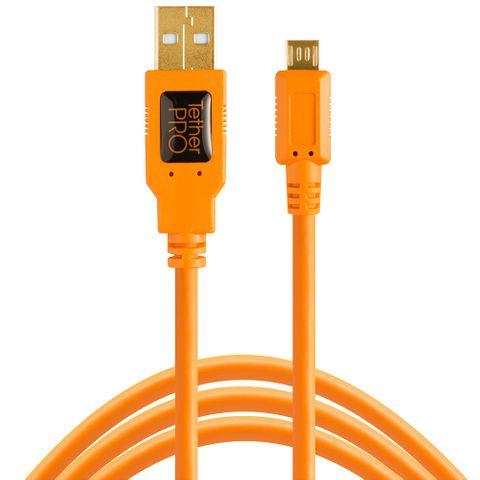 Tether Tools TetherPro USB 2 Male to Micro-B 5-Pin 4.6m Hi-Vis Orange
